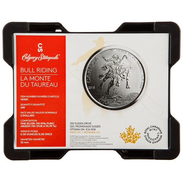 1 2 Oz 2015 Calgary Stampede Silver Coin Silver Gold Bull Us