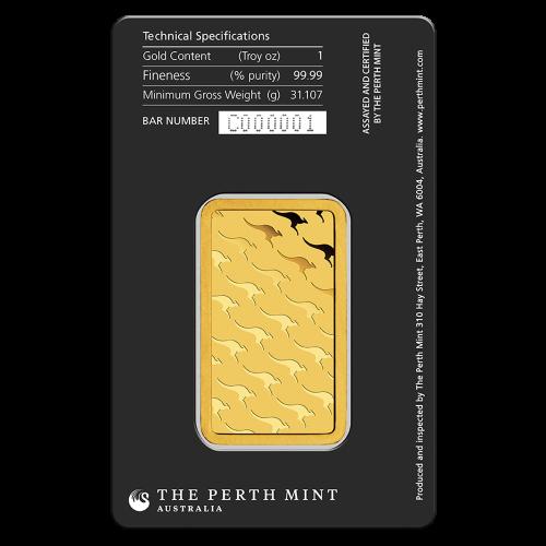 1 oz dünner Goldbarren - Perth Prägeanstalt