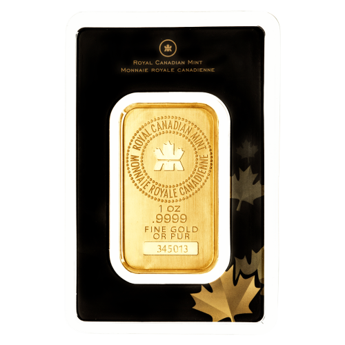 1 oz dünner Goldbarren von der Royal Canadian Mint