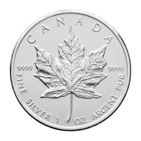 1 oz Vilkårlig År Canadian Maple Leaf Sølvmynt