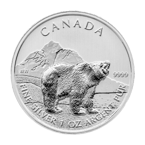 1 oz 2011 Canadian Grizzly Bear Silver Coin | Toned and Spotted