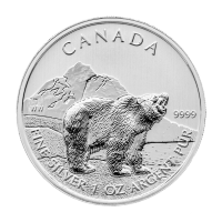 oz 2011 Canadian Grizzly Bear Silver Coin | Toned and Spotted