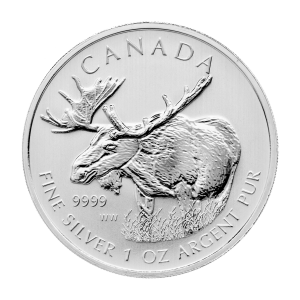 1 oz 2012 Canadian Moose Silver Coin | Toned and Spotted