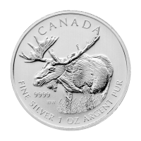 1oz 2012 Canadian Moose Silver Coin | Toned and Spotted