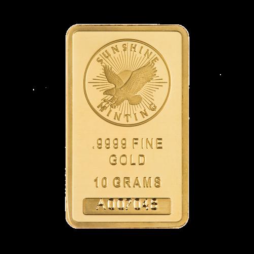 10 g dünner Goldbarren - Sunshine Prägeanstalt