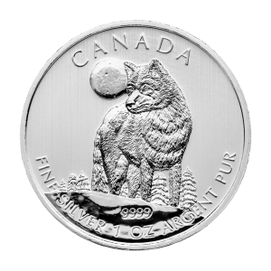 1 oz 2011 Canadian Timber Wolf Silver Coin | Toned and Spotted