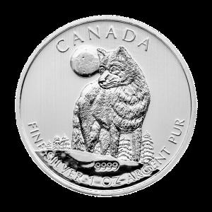 Pièce d'argent Loup gris canadien 2011 de 1 once | Bronzée et tachée