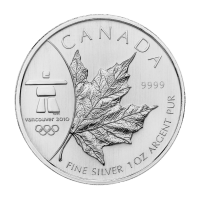 1 oz 2008 Canadian Maple Leaf Olympic Privy Silver Coin