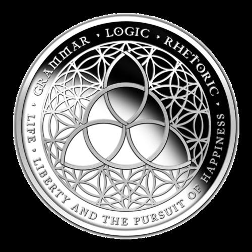 Das Trivium Symbol, abgebildet auf einer Blume des Lebens - Grammatik - Dialektik - Rhetorik - Leben - Freiheit und das Streben nach Glück