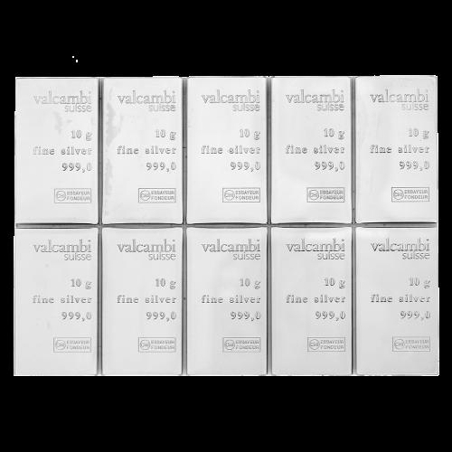 100 g (10 x 10 g) Valcambi Silver CombiBar