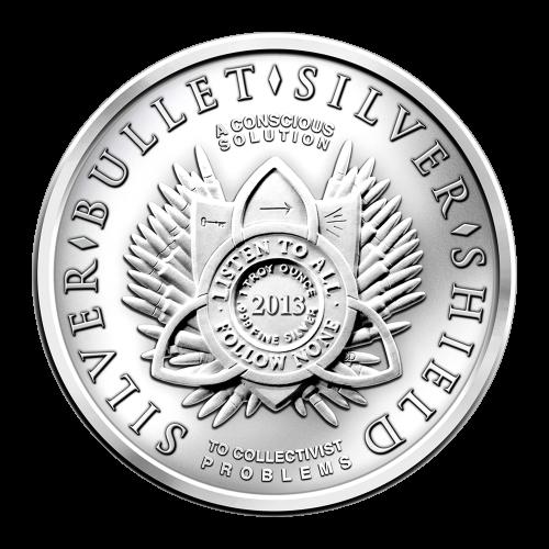 1 oz - .999 Fein Ag - AOCS geprüft - Listen to All - Follow None (höre jedem zu - folge niemandem) Shield - 2013 - 47 Kugeln Muster - Silber - Kugel - Silver - Shield - To Collectivist Problems - A Conscious Solution (zu kollektivistischen Problemen - ein
