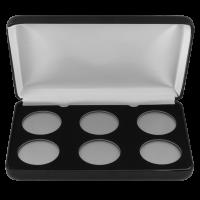 Münzausstellerbox aus Kunstleder - 6 Münzen