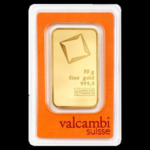 50 gram Valcambi Gold Bar
