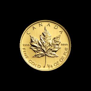 Pièce d'or Maple Leaf canadienne d'année aléatoire de 1/4 once