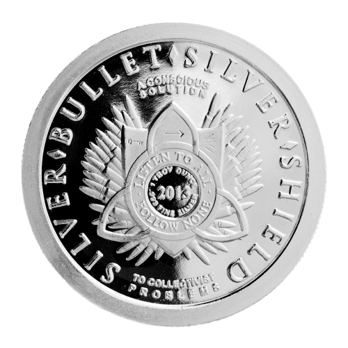 1 oz - .999 Fein Ag - Listen to All - Follow None (höre jedem zu - folge niemandem) Shield - 2013 - 47 Kugeln Muster - Silber - Kugel - Silver - Shield - To Collectivist Problems - A Conscious Solution (zu kollektivistischen Problemen - eine bewusste Lösu