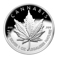 Disco in argento proof-like 1 oz 2013 Cannabis