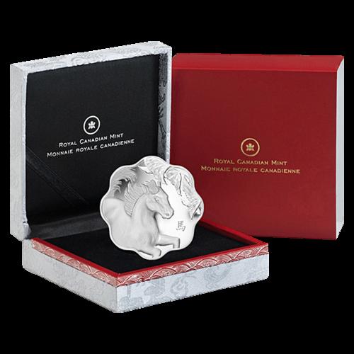 Silbermünze Form: Lotusblüte - Jahr des Pferdes - 2014