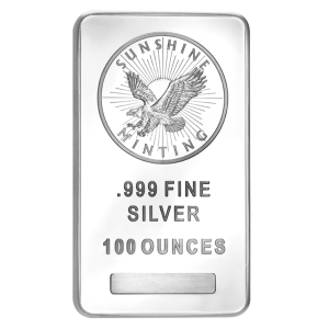 Lingot d'argent Sunshine Mint de 100 onces