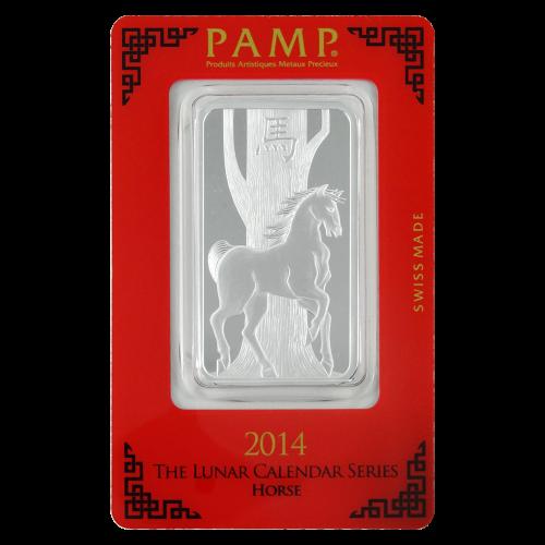 """Ein Pferd vor einem Baum, mit dem chinesischen Schriftzeichen für """"Pferd"""" und die Worte """"PAMP 2014 The Lunar Calendar Series Horse"""" (PAMP 2014 die Mondkalender Serie Pferd)"""