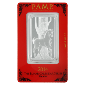 1 oz 2014 PAMP Suisse Year of the Horse Silver Bar