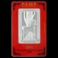 1 oz dünner Silberbarren - Jahr des Pferdes - 2014 von PAMP Suisse