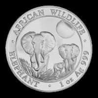 1 oz Silbermünze - somalischer afrikanischer Elefant - 2014