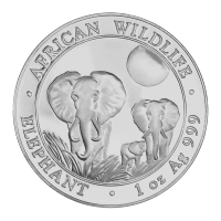1 oz 2014 Somalian African Elephant Silver Coin