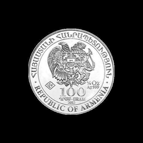 Wappen der armenischen Republik - Armenische Republik - 100 DRAM - 1/4 oz Silber 999 - LEV Echtheitsstempel (Leipziger Edelmetallverarbeitung).
