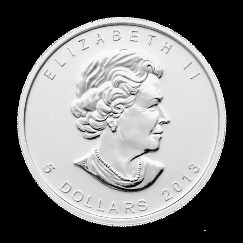 """Ein Ahornblatt mit einer aufgesetzten """"25"""", die Worte """"Canada Fine Silver 1oz Argent Pur"""" (Kanada Feinsilber 1 oz reines Silber) und """"9999"""" auf der anderen Seite."""