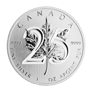1 ounce 2013 canadisk Maple Leaf 25 års jubilæums sølvmønt