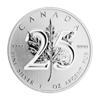 1 oz 2013 Canadian Maple Leaf 25ste Verjaardag Zilveren Munt