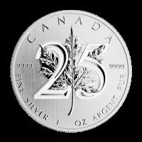 1 oz Silbermünze - kanadisches Ahornblatt - 25. Jahrestag - 2013