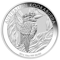 Pièce d'argent Kookaburra australien 2014 de 10 onces