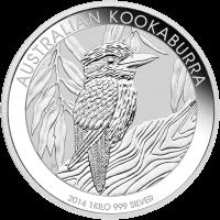 1 kg | Kilo Silbermünze australischer Kookaburra 2014