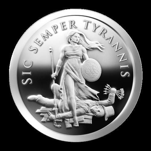Freiheitsmädchen mit Lanze und Schild auf dem das Trivium Design abgebildet ist und Schulden und Tod liegt zu ihren Füßen, mit seinen 5 Pfeilen und einer Kette, auf Papierwährung liegen, die Worte Sic Semper Tyrannis drumherum.