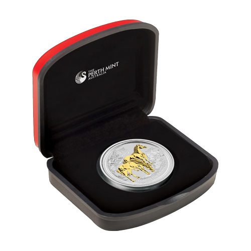 1 oz vergoldete Silbermünze - Jahr des Pferdes - 2014