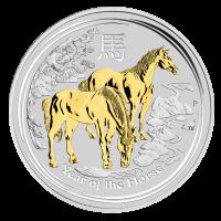 1 oz vergoldete Silbermünze Mondserie Jahr des Pferd 2014