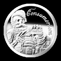 1 oz Silbermedaille - Konsumdenken - 2013 - Zustand: Spiegelglanz