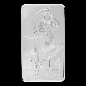 10 oz NTR Silberbarren - Jahr des Pferdes - 2014