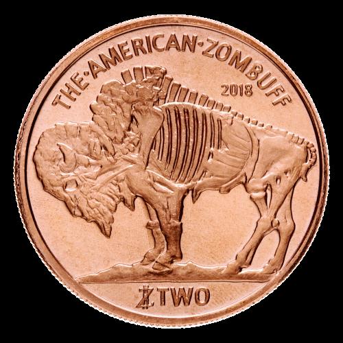 """Das Zombiprofil des Schwarzdiamanten Büffels, der klassischen Büffelmedaille, mit der Inschrift oben und unten """"The American Zombuff 2018 TWO Zombucks™"""" (amerikanischer Zombuff 2018 ZWEI Zombucks™)."""