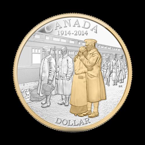 """(Polierte Platte Dollar) - Ein sich umarmendes Paar, während Soldaten mit ihrem Gepäck in einen Zug einsteigen, die Worte """"Canada 1914 - 2014 Dollar"""" und die Initialen des Künstlers BR."""
