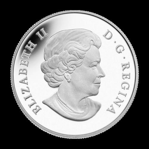 """Eine Familie kanadischer Ureinwohner (Inuks), die ihr Iglu fertigstellen, ein angebundener Husky und die Worte """"Canada 2014 25 Dollars""""."""