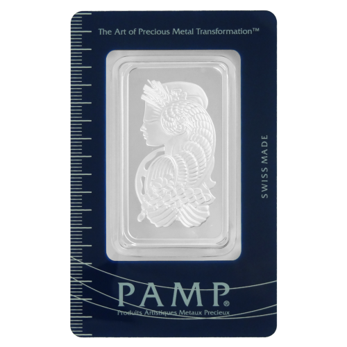 "Fortuna, blind und mit einem Füllhorn in der Hand und den Worten ""the Art of Precious Metal Transformation Swiss Made PAMP Produits Artistiques Metaux Precieux"""