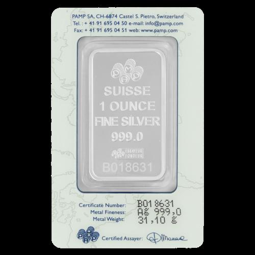 """""""PAMP Suisse One Troy Ounce Fine SILVER 999"""" und die Seriennummer. Auf der Zertifikationskarte befinden sich die Seriennummer, die Reinheit, das Gewicht, die Unterschrift des Chefprüfers und die PAMP-Suisse-Telefonnummern."""