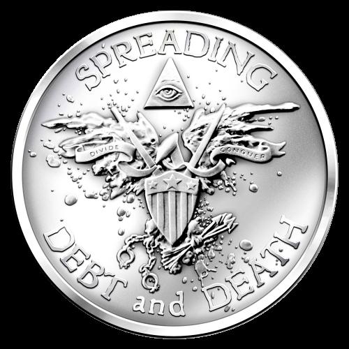 Schulden und Tot verbreiten - Adler Abbildung auf einem Schild, Propaganda Drohne, Blutspritzer, hält Pfeile und Fesseln - trenne und erobere - alles sehendes Auge