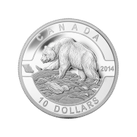 1/2 oz 2014 O Canada Series - Grizzly Bear Silver Coin