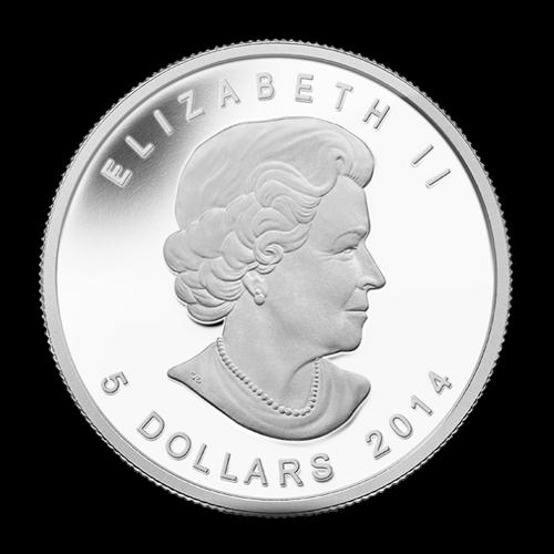 """Exotischer Falken während einem Flügelschlag mit den Worten """"Canada Fine Silver 1 oz Argent Pur"""" (kanadisches Feinsilber 1 oz reines Silber) und die Initialen des Künstlers."""