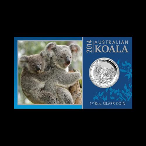 1/10 oz australische Silbermünze in Karton - Koala - 2014