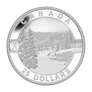 1 oz 2014 O Canada Series - Skiing Canada's Slopes Silver Coin