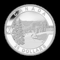 """1 oz Silbermünze - """"O Canada"""" Serie - auf kanadischen Abhängen Skifahren - 2014"""